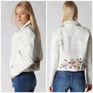 Vegan Leather Rose Studded FULL BlOOM Jacket